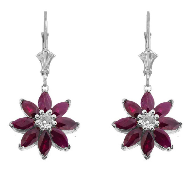 Genuine Ruby  and Diamond Daisy Earrings In 14K White Gold