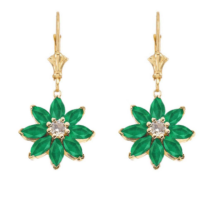 Emerald and Diamond Daisy Earrings In 14K Yellow Gold