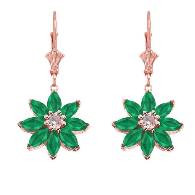 Emerald and Diamond Daisy Earrings In 14K Rose Gold
