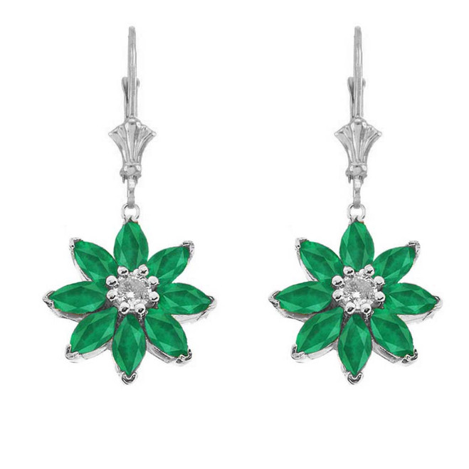 Emerald and Diamond Daisy Earrings In 14K White Gold