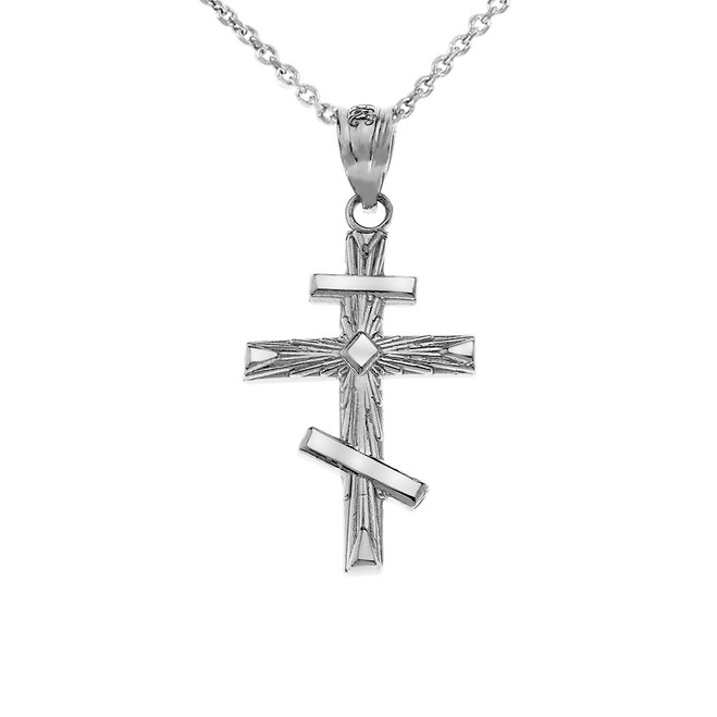 Russian Orthodox Cross Pendant Necklace in .925 Sterling Silver