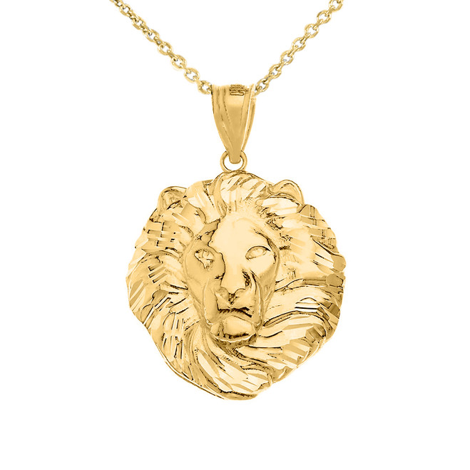 Lion King Head Pendant Necklace in Yellow Gold