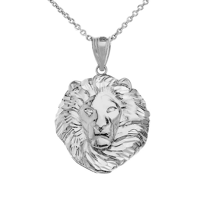 Lion King Head Pendant Necklace in White Gold