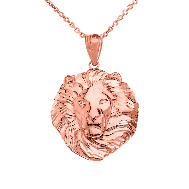 Lion King Head Pendant Necklace in Rose Gold