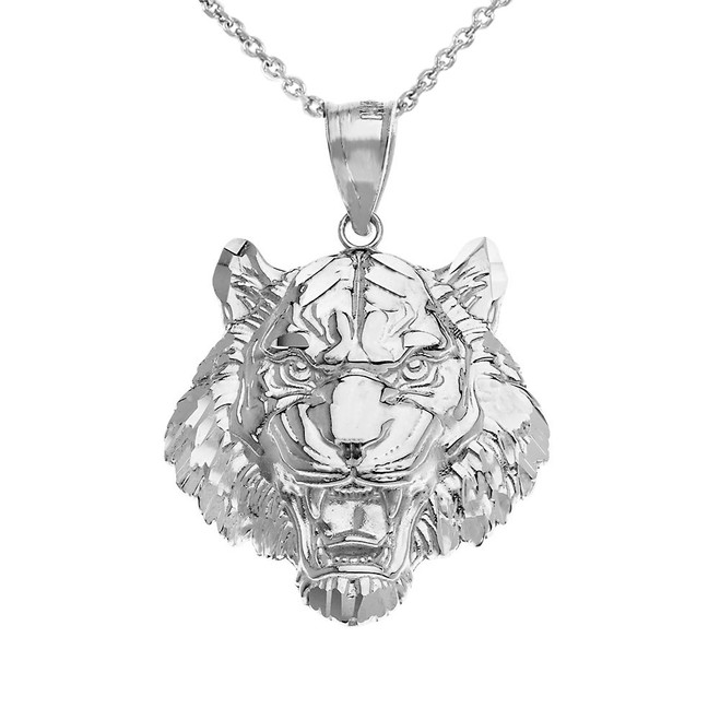 Roaring Tiger Pendant Necklace in White Gold
