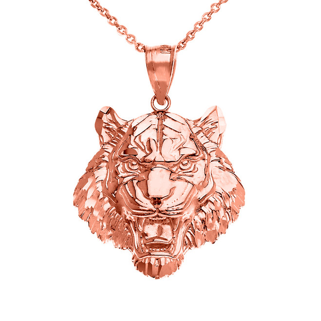 Roaring Tiger Pendant Necklace in Rose Gold