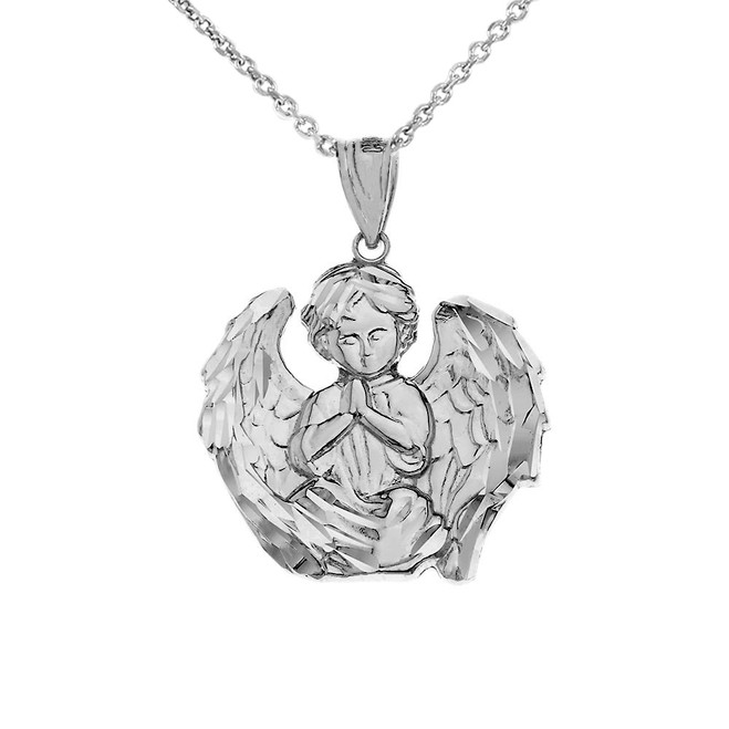 Praying Guardian Angel Pendant Necklace in .925 Sterling Silver