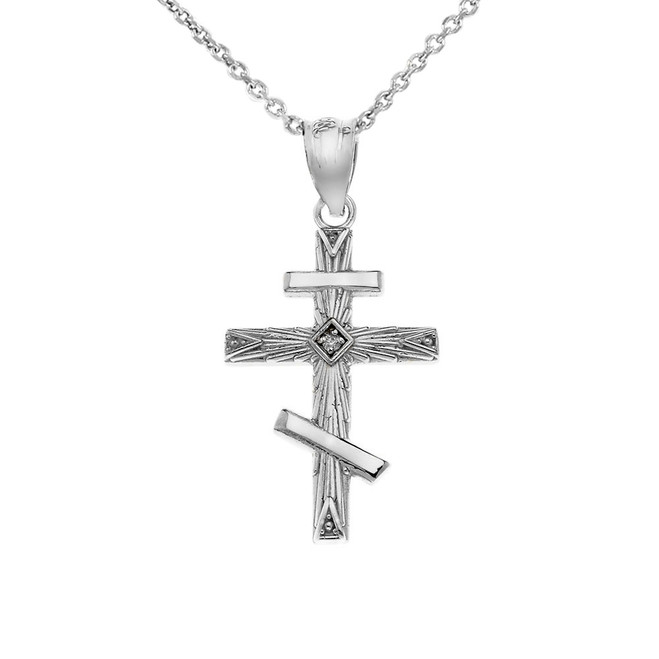 CZ Russian  Orthodox Cross Pendant Necklace in .925 Sterling Silver