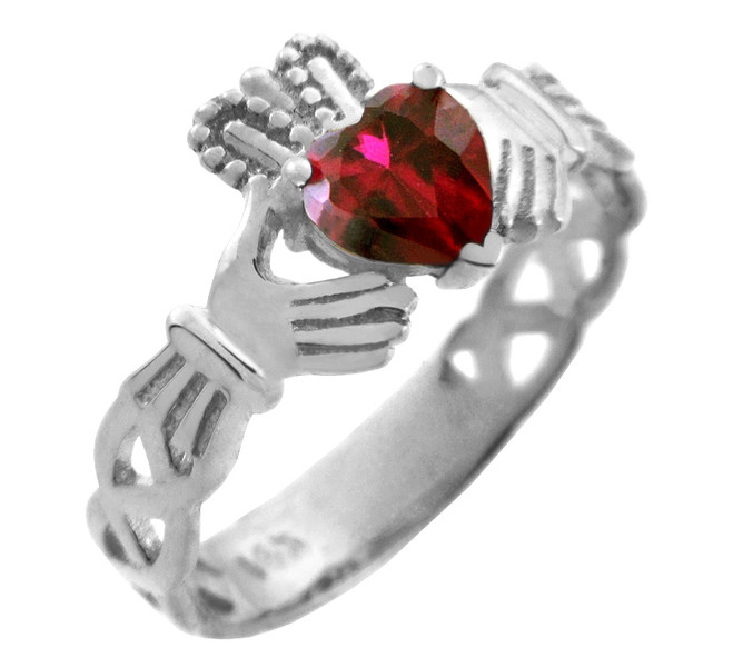 White Gold Claddagh Trinity Band with Garnet Red CZ Heart