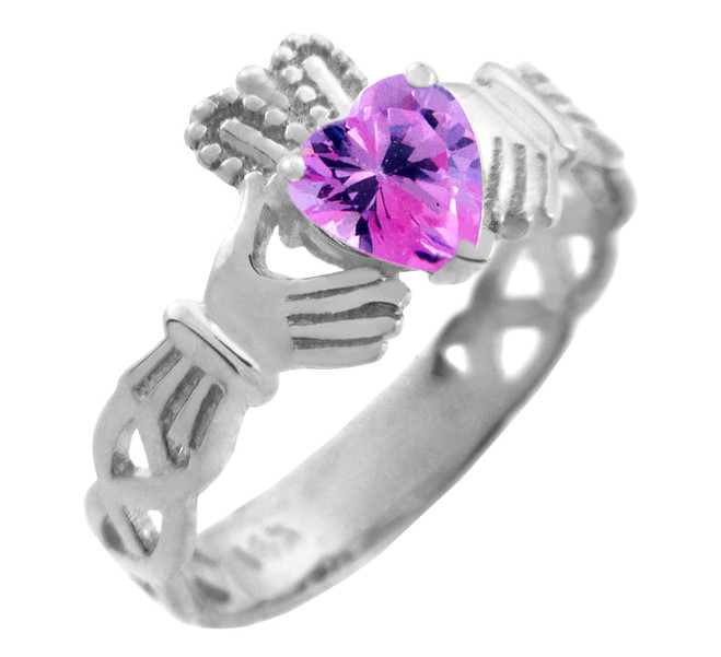 Silver Claddagh Trinity Band with Pink CZ Heart