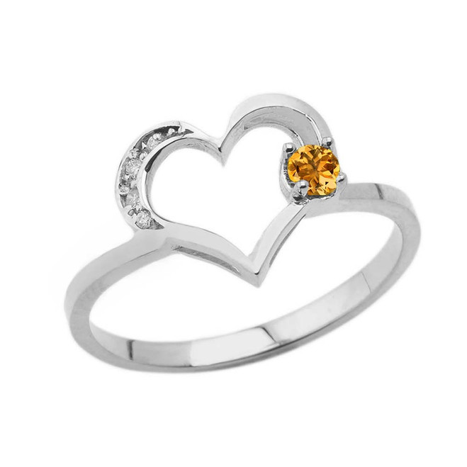 November Birthstone Citrine and Diamond Heart Ring In White Gold