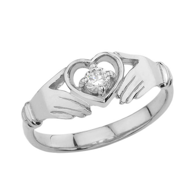 .15 CT Diamond Classic Claddagh Ring in White Gold