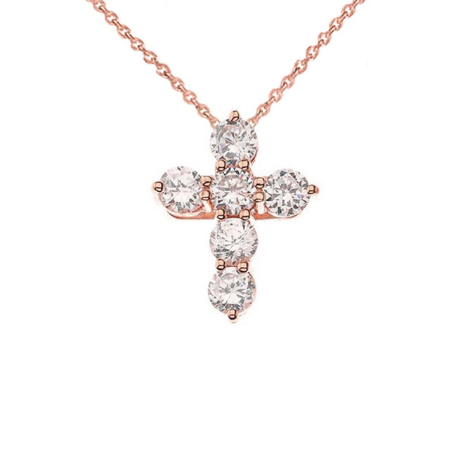 Rose Gold Cross Elegant Pendant Necklace (Mini-Small)