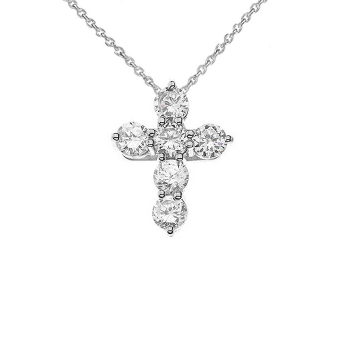 White Gold Cross Elegant Pendant Necklace (Mini-Small)