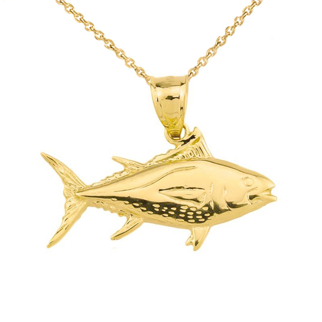 Yellow Gold Yellowfin Tuna Fish Pendant
