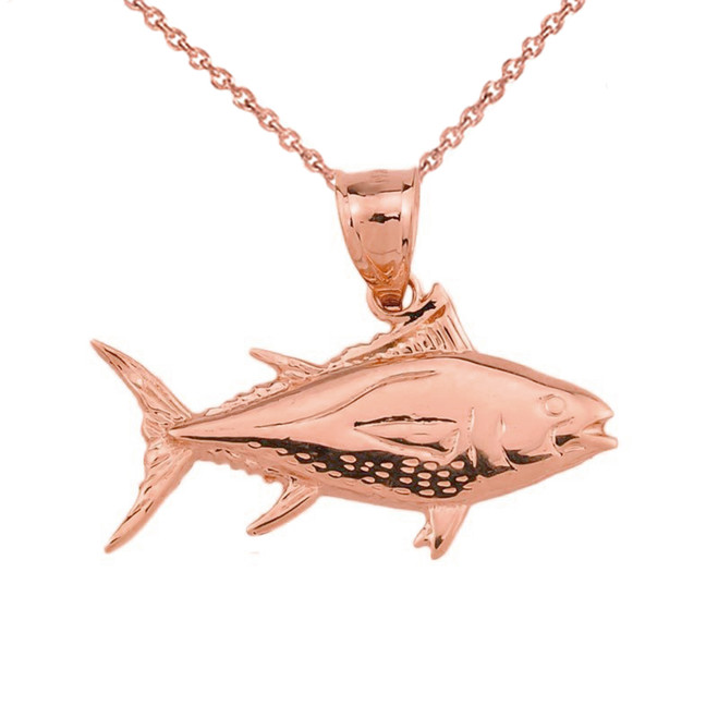 Rose Gold Yellowfin Tuna Fish Pendant