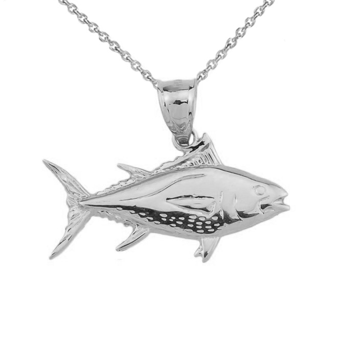 White Gold Yellowfin Tuna Fish Pendant