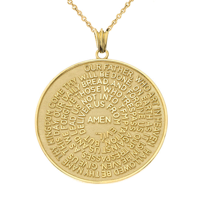 The Lords Prayer Medallion Pendant Necklace in Yellow Gold (Small - Medium - Large)