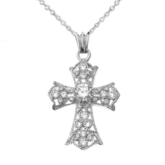 CZ Filigree Cross Pendant Necklace in White Gold