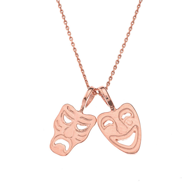 Comedy & Tragedy Masks (Sock & Buskin) Pendant Necklace in Rose Gold