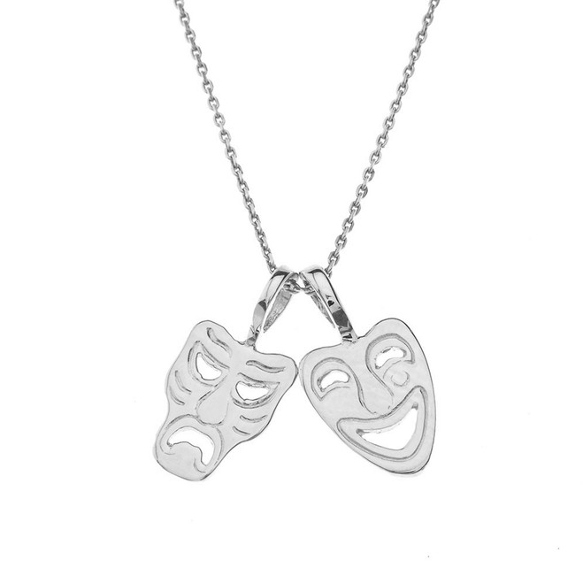 Comedy & Tragedy Masks (Sock & Buskin) Pendant Necklace in Sterling Silver