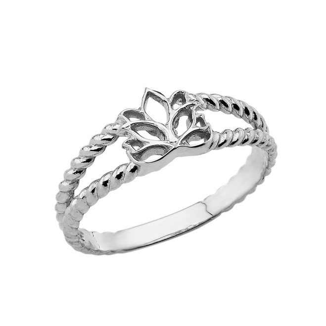 Lotus Flower Double Roped Ring in White Gold