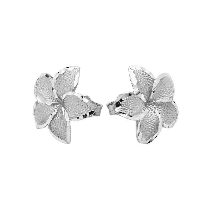 Plumeria Flowers Stud Earrings in White Gold