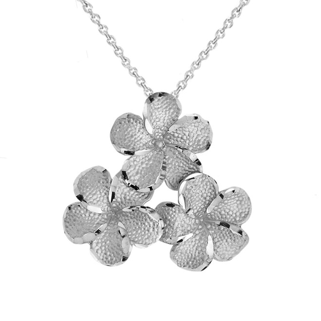 Plumeria Flowers in White Gold