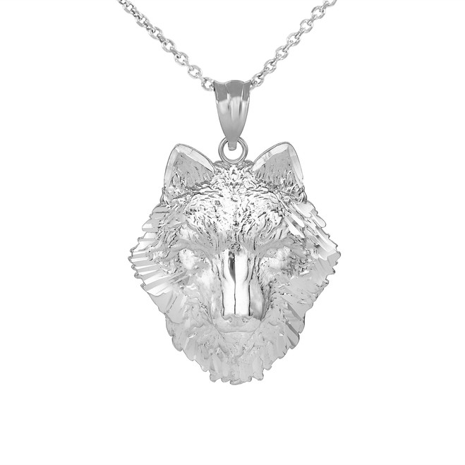 Wolf Head Pendant Necklace in White Gold