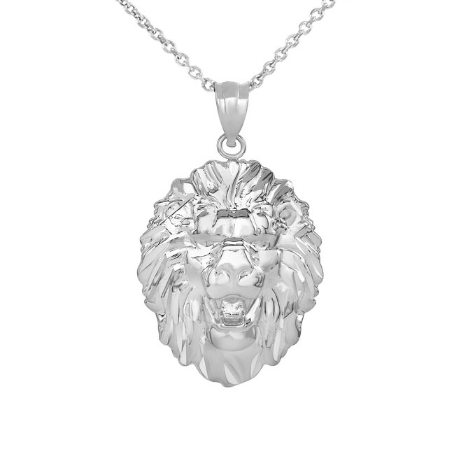 Roaring Lion King Head Pendant Necklace in White Gold