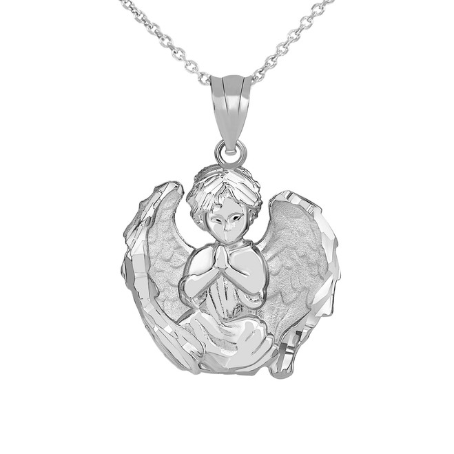 Praying Guardian Angel Pendant with Matte Finished Wings Necklace in White Gold