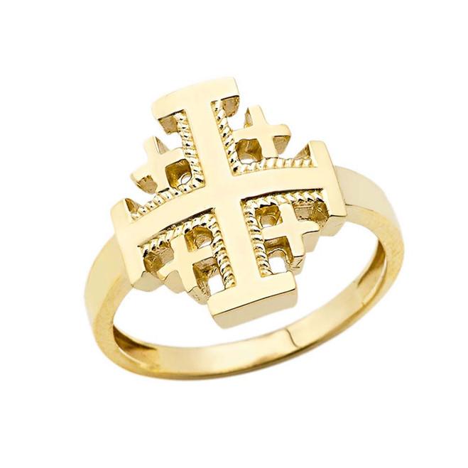 Jerusalem Cross Ring in Yellow Gold