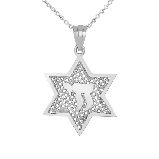 Star of David with Chai Pendant Necklace in .925 Sterling Silver
