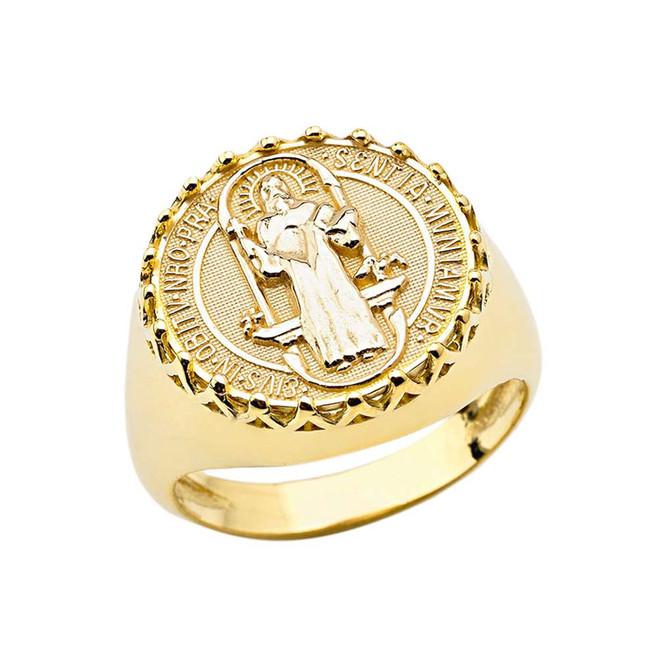 Men's Saint Benedict Ring in Yellow Gold