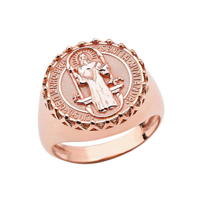 Men's Saint Benedict Ring in Rose Gold