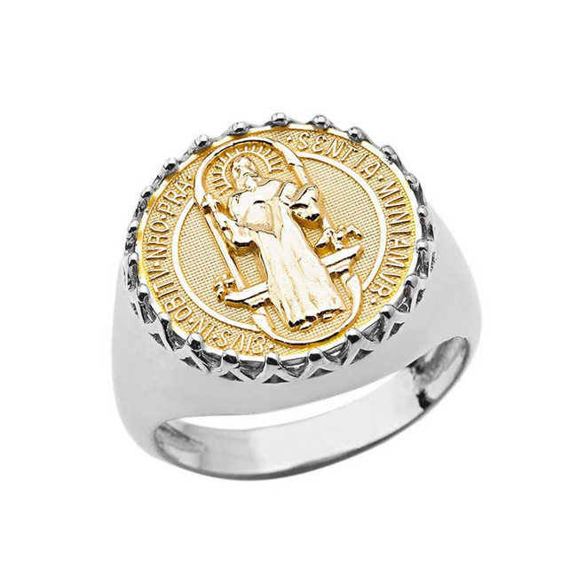 Men's Saint Benedict Ring in White and Yellow Gold