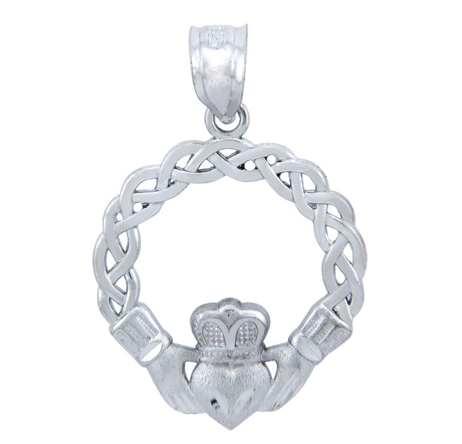 Sterling Silver Celtic Claddagh Pendant