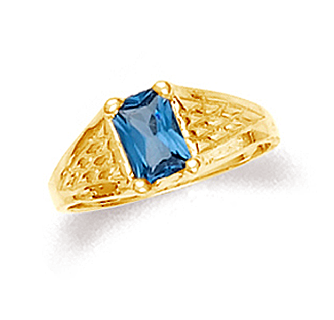 Gold blue topaz baby boy ring in 10k or 14k gold.