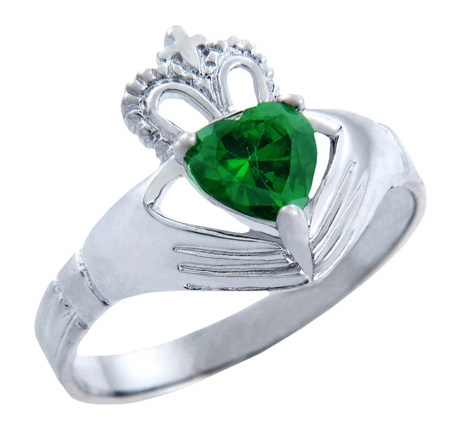 Silver Claddagh Band with Emerald CZ Heart