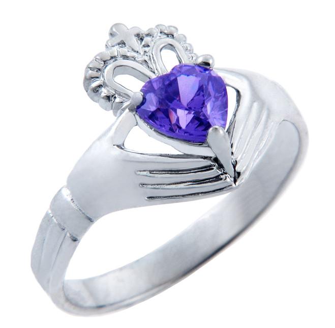 Silver Claddagh Ring with Alexandrite Birthstone.