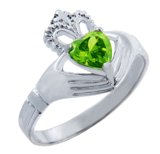 Silver Claddagh Ring with Peridot Birthstone.