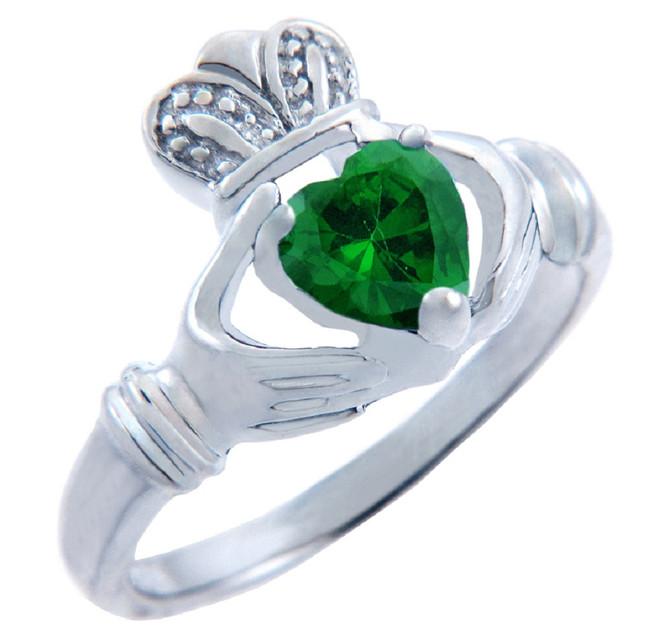 Silver Claddagh Ring with Emerald CZ Heart