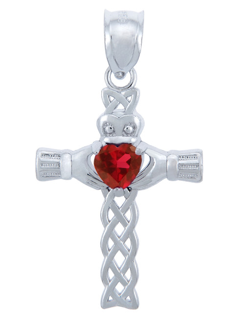 Silver Celtic Cross Pendant with Garnet CZ Heart