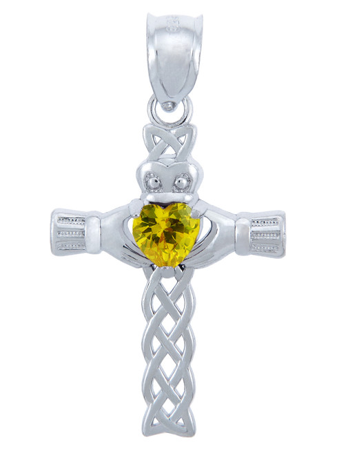 Silver Celtic Cross Pendant with Yellow CZ Heart