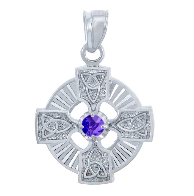 Silver Celtic Trinity Pendant with Alexandrite CZ Stone