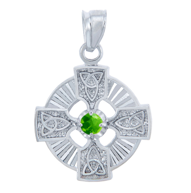 Silver Celtic Trinity Pendant with Peridot CZ Stone