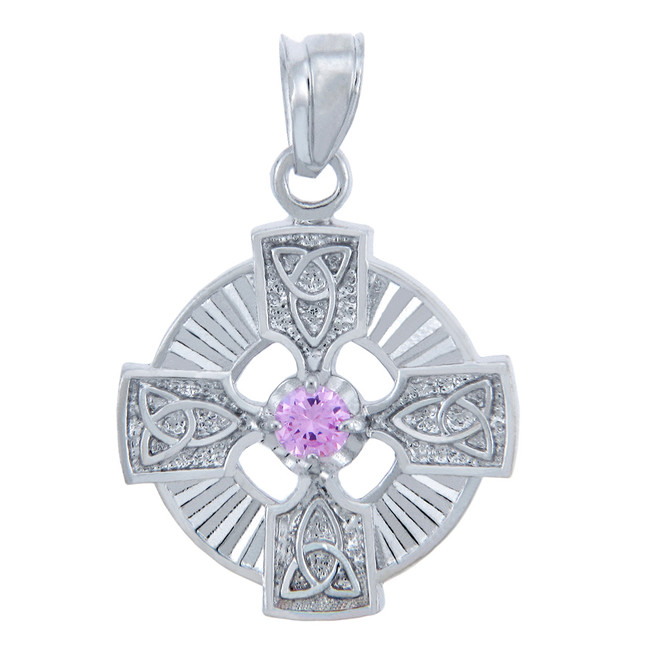 Silver Celtic Trinity Pendant with Pink CZ Stone