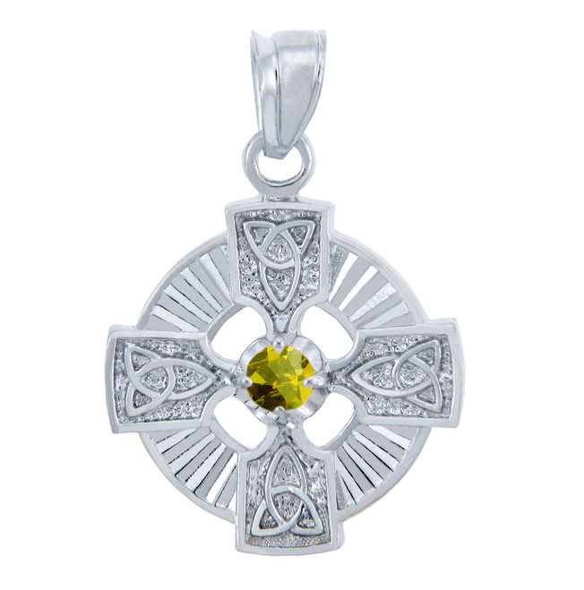 Silver Celtic Trinity Pendant with Yellow CZ Stone
