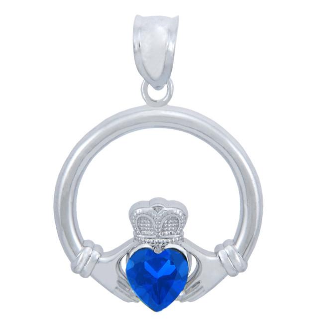 Silver Claddagh Sapphire CZ Heart Pendant (M)