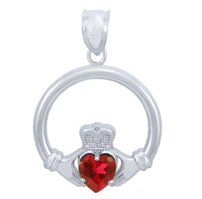 Silver Claddagh Garnet CZ Heart Charm Pendant (S)